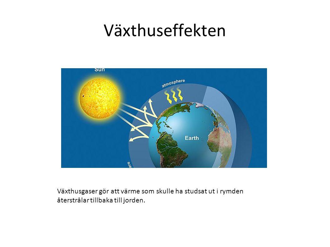 Växthuseffekten Växthusgaser gör att värme som skulle ha studsat ut i rymden återstrålar tillbaka till jorden.