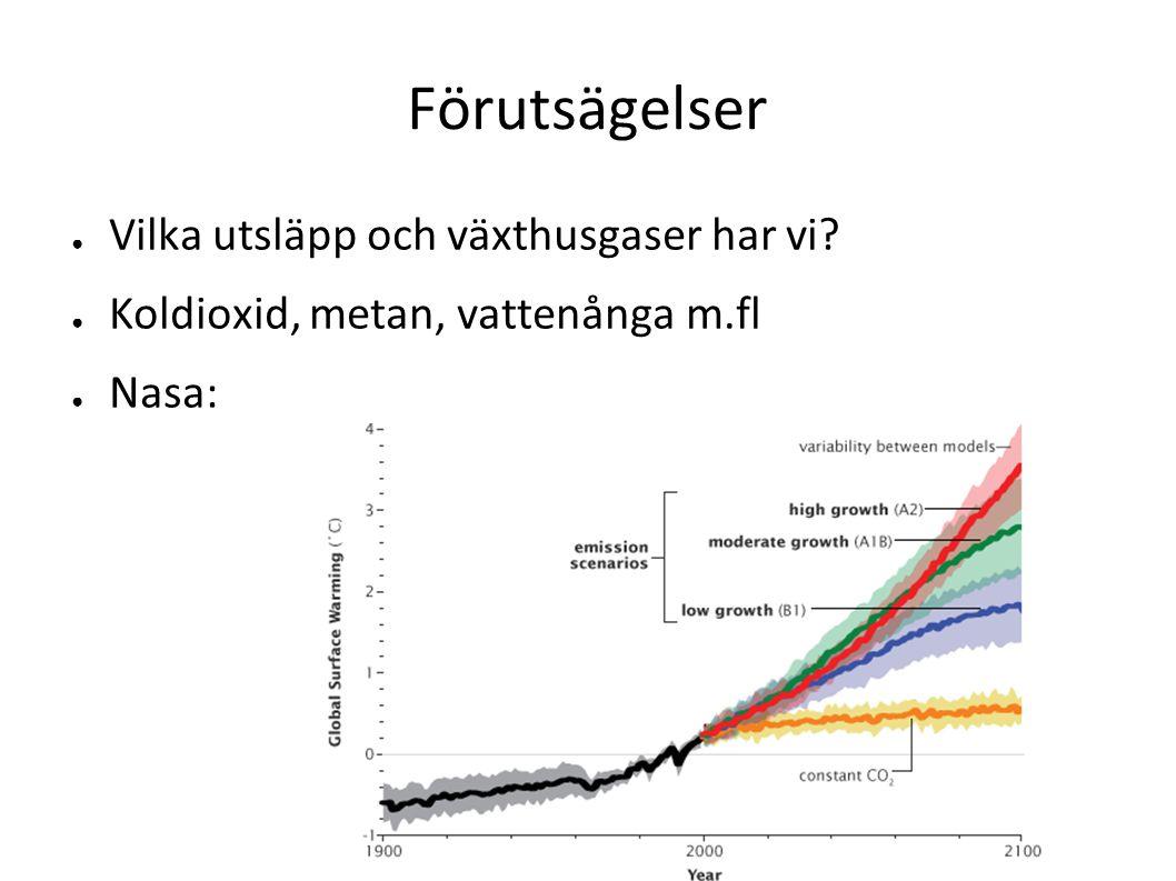 Förutsägelser ● Vilka utsläpp och växthusgaser har vi? ● Koldioxid, metan, vattenånga m.fl ● Nasa: