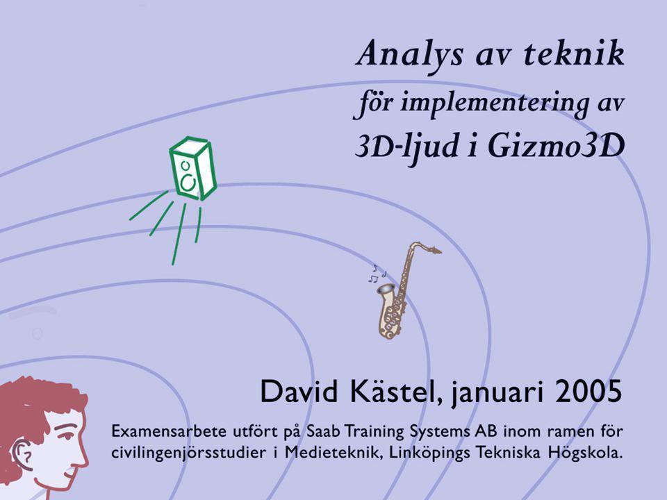 Innehåll Motiv: Virtual Reality Bakgrund & Syfte: Saab Training Systems Ljud 3D-ljud Tekniker och metoder 3D-ljud i Gizmo3D Resultat ~ 40 min presentation ~ 10 min Opponering och diskussion Program:
