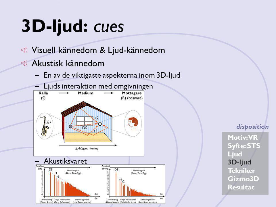 Motiv: VR Syfte: STS Ljud 3D-ljud Tekniker Gizmo3D Resultat disposition 3D-ljud: cues Visuell kännedom & Ljud-kännedom Akustisk kännedom –En av de vik