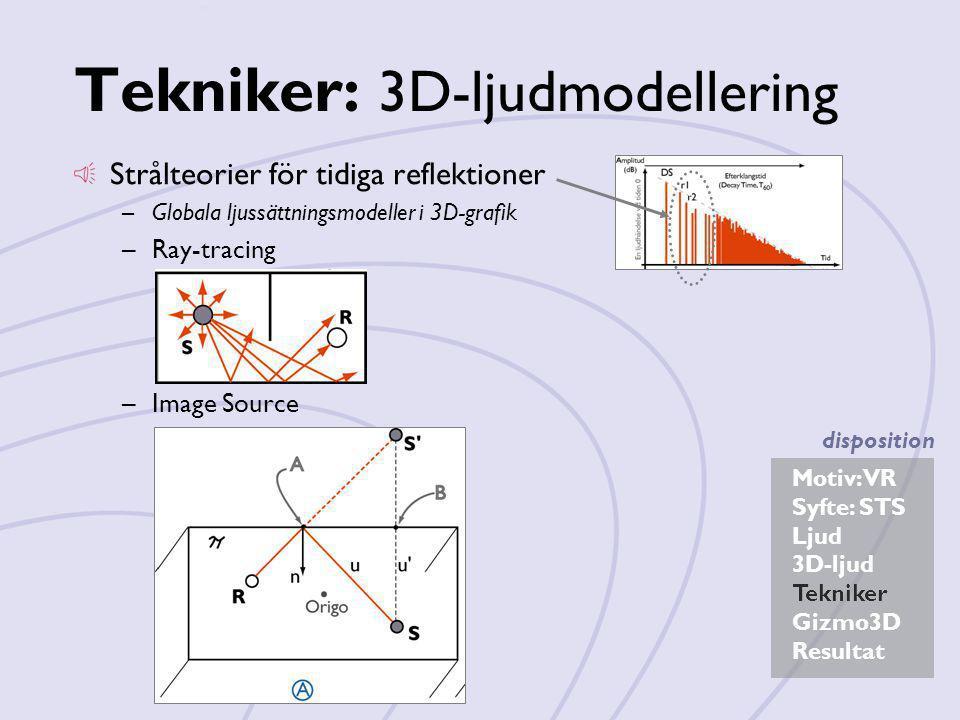 Motiv: VR Syfte: STS Ljud 3D-ljud Tekniker Gizmo3D Resultat disposition Tekniker: 3D-ljudmodellering Strålteorier för tidiga reflektioner –Globala lju