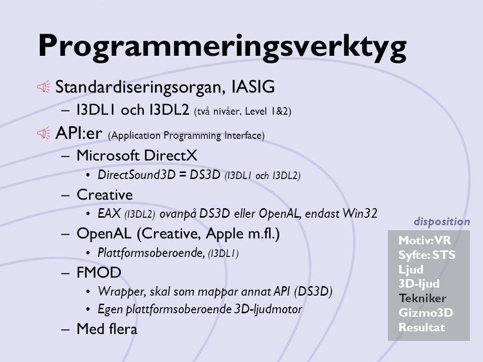 Motiv: VR Syfte: STS Ljud 3D-ljud Tekniker Gizmo3D Resultat disposition Programmeringsverktyg Standardiseringsorgan, IASIG –I3DL1 och I3DL2 (två nivåe