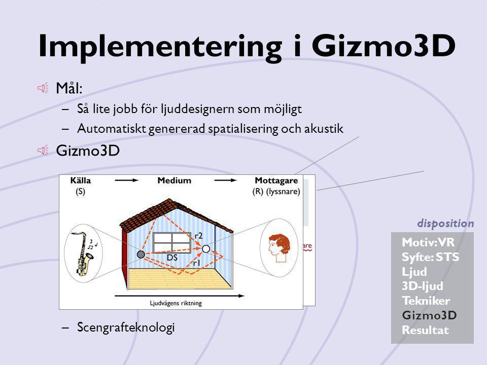 Motiv: VR Syfte: STS Ljud 3D-ljud Tekniker Gizmo3D Resultat disposition Implementering i Gizmo3D Mål: –Så lite jobb för ljuddesignern som möjligt –Aut