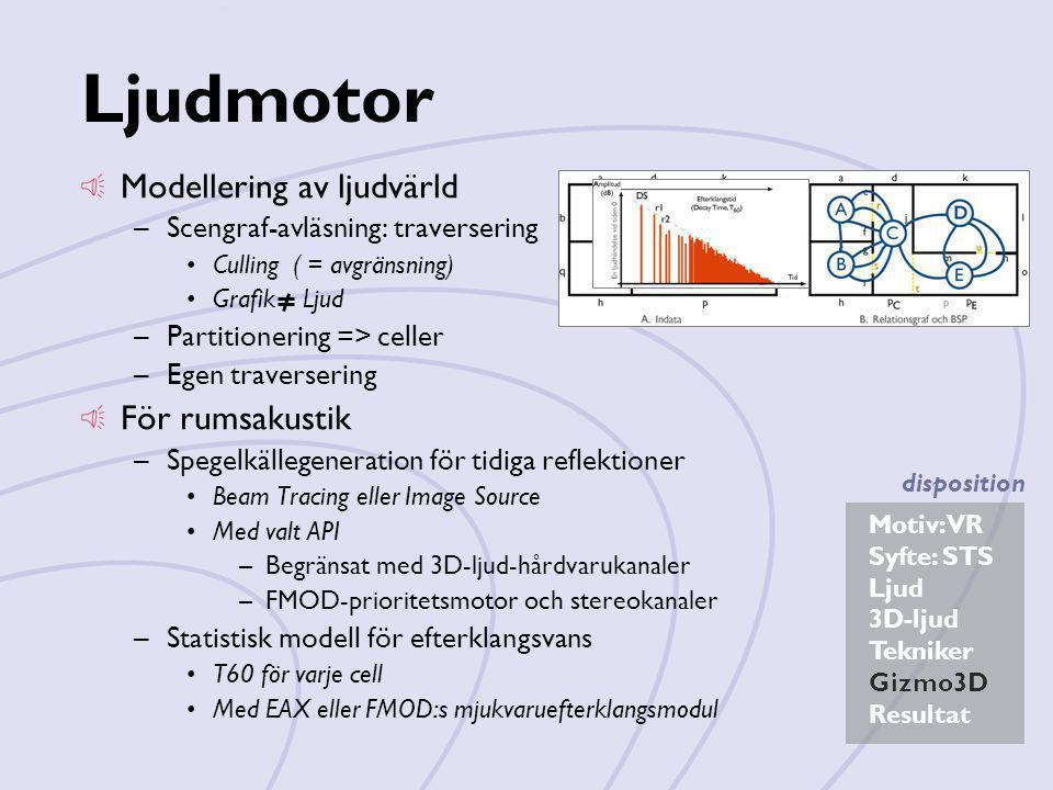 Motiv: VR Syfte: STS Ljud 3D-ljud Tekniker Gizmo3D Resultat disposition Ljudmotor Modellering av ljudvärld –Scengraf-avläsning: traversering •Culling
