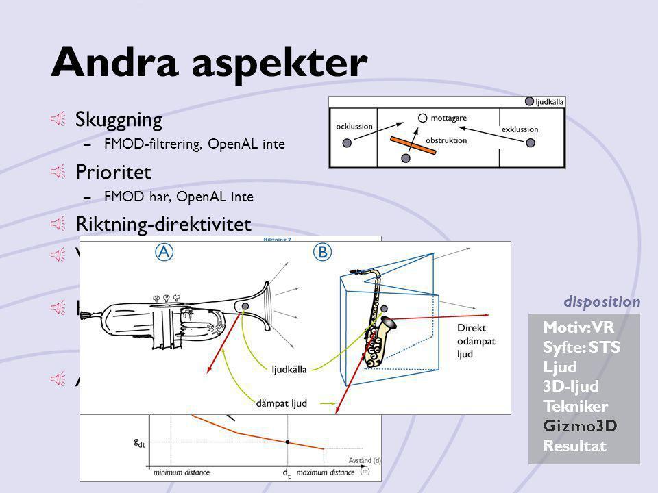 Motiv: VR Syfte: STS Ljud 3D-ljud Tekniker Gizmo3D Resultat disposition Andra aspekter Skuggning –FMOD-filtrering, OpenAL inte Prioritet –FMOD har, Op