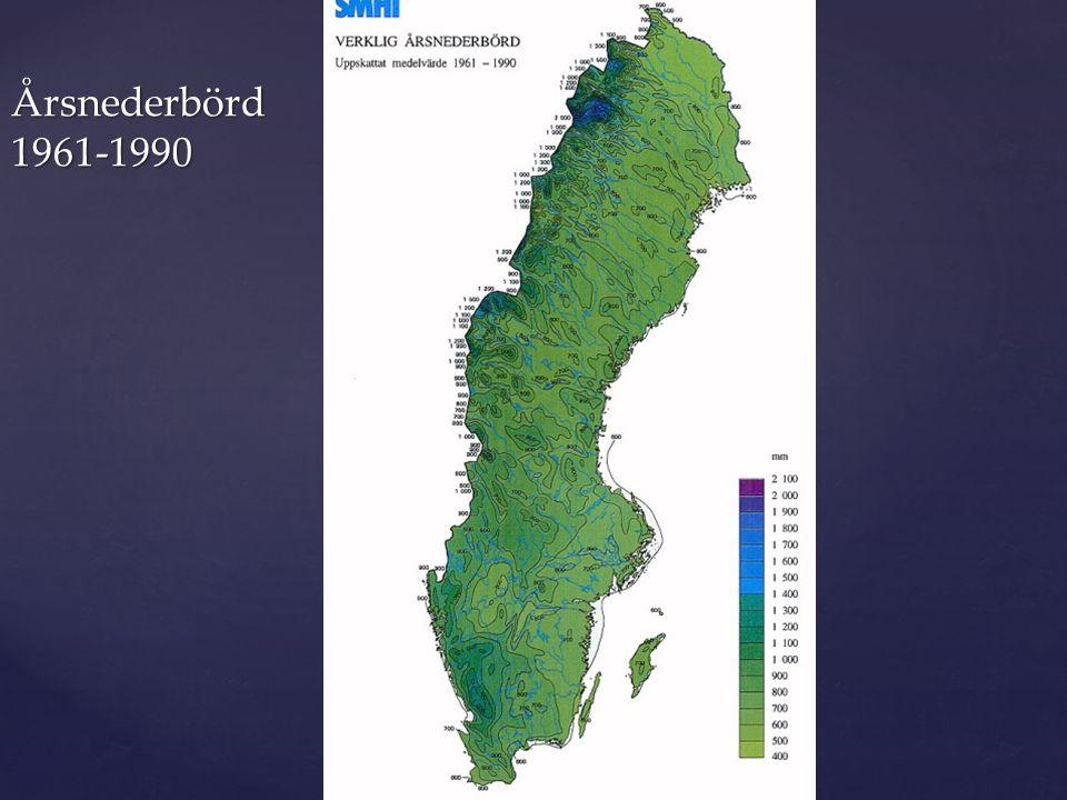Årsnederbörd 1961-1990