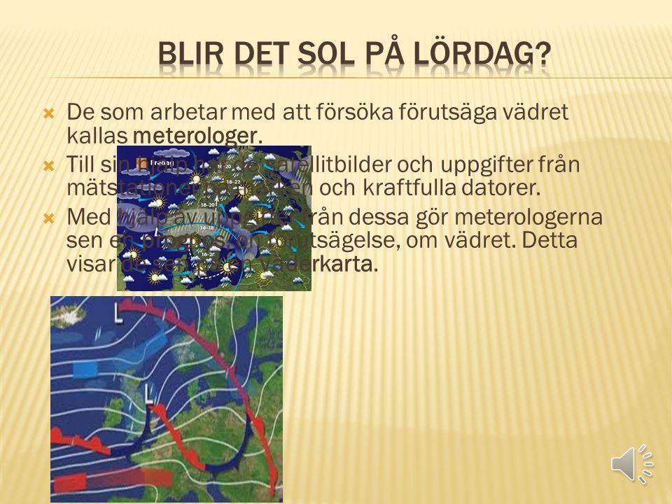  De som arbetar med att försöka förutsäga vädret kallas meterologer.