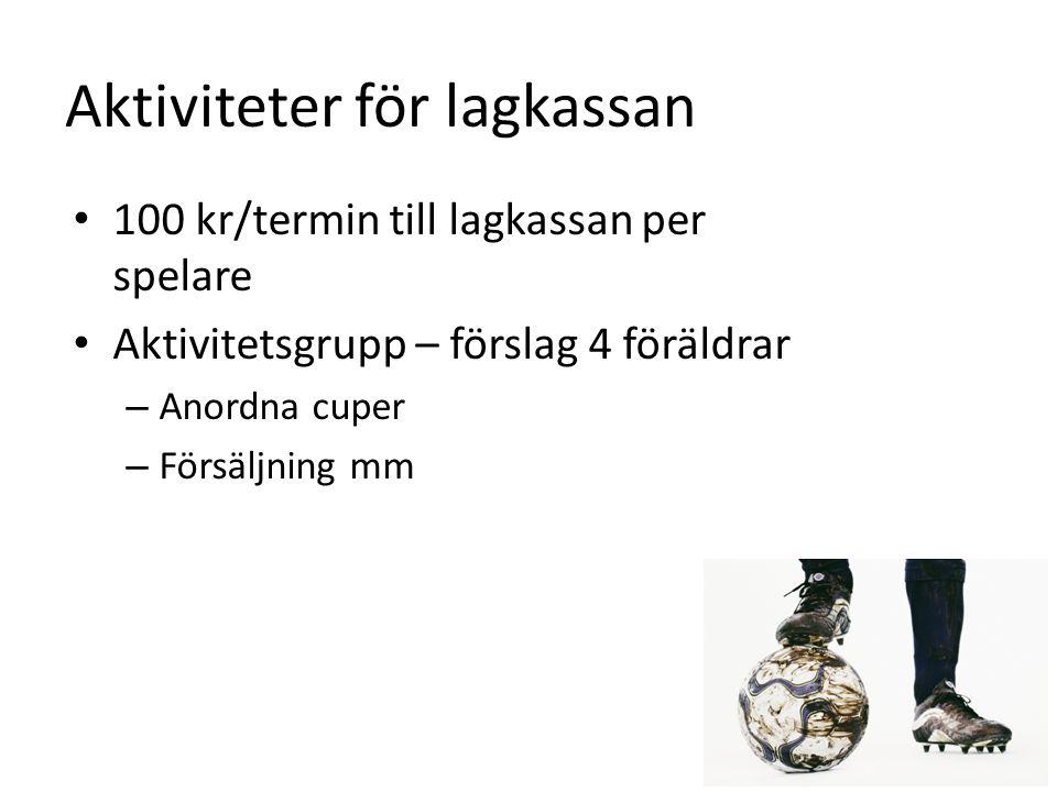 Aktiviteter för lagkassan • 100 kr/termin till lagkassan per spelare • Aktivitetsgrupp – förslag 4 föräldrar – Anordna cuper – Försäljning mm