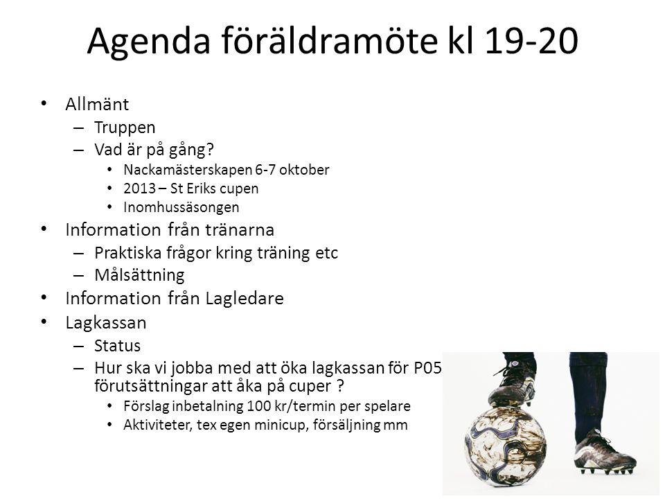 Agenda föräldramöte kl 19-20 • Allmänt – Truppen – Vad är på gång? • Nackamästerskapen 6-7 oktober • 2013 – St Eriks cupen • Inomhussäsongen • Informa