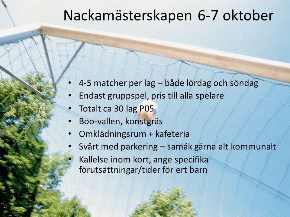 Nackamästerskapen 6-7 oktober • 4-5 matcher per lag – både lördag och söndag • Endast gruppspel, pris till alla spelare • Totalt ca 30 lag P05 • Boo-v