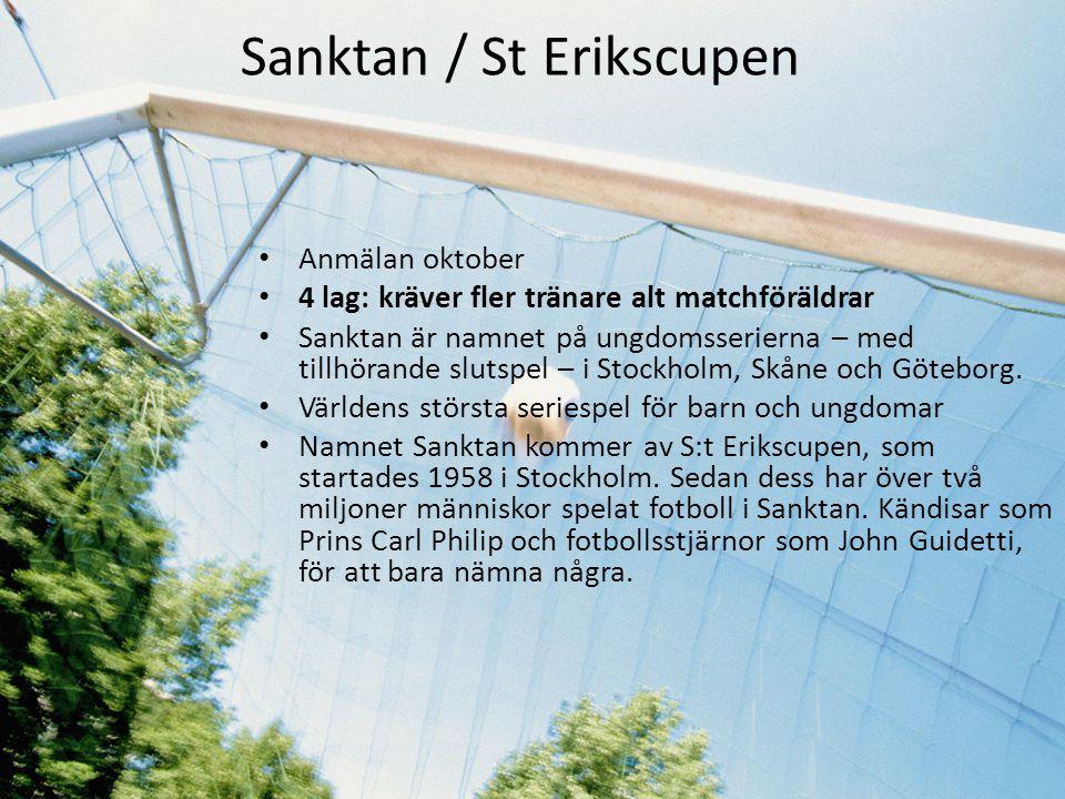 Sanktan / St Erikscupen • Anmälan oktober • 4 lag: kräver fler tränare alt matchföräldrar • Sanktan är namnet på ungdomsserierna – med tillhörande slu