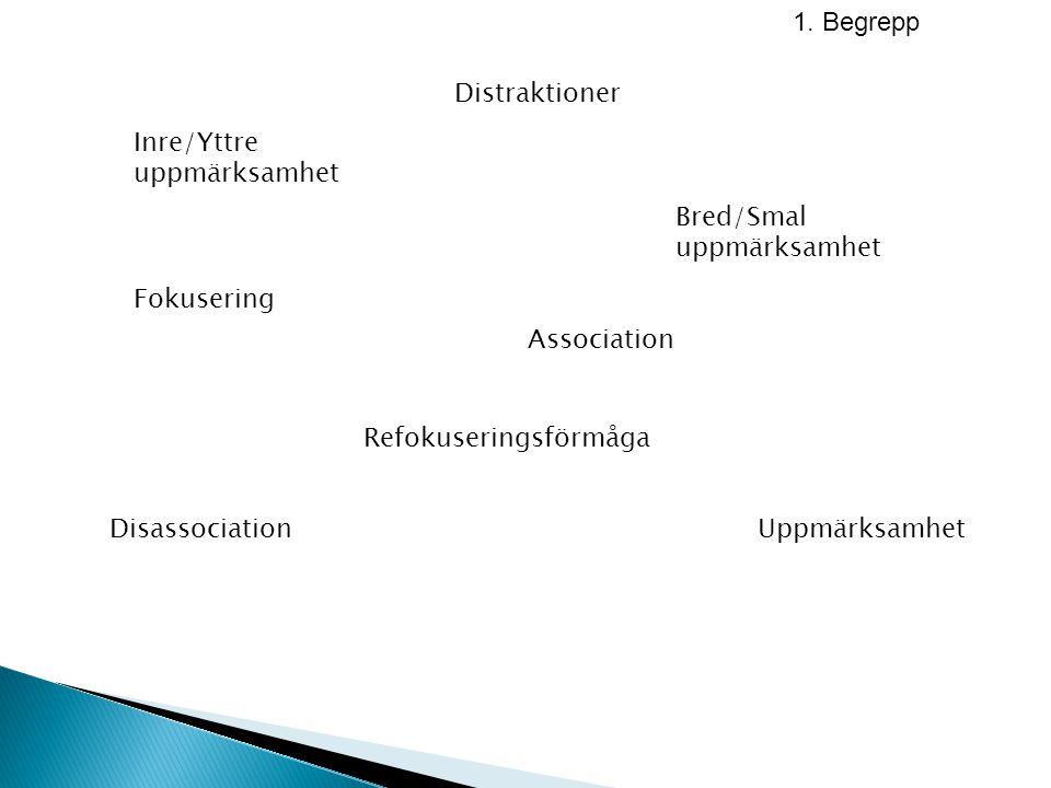 1. Begrepp Association Refokuseringsförmåga Uppmärksamhet Bred/Smal uppmärksamhet Inre/Yttre uppmärksamhet Disassociation Fokusering Distraktioner