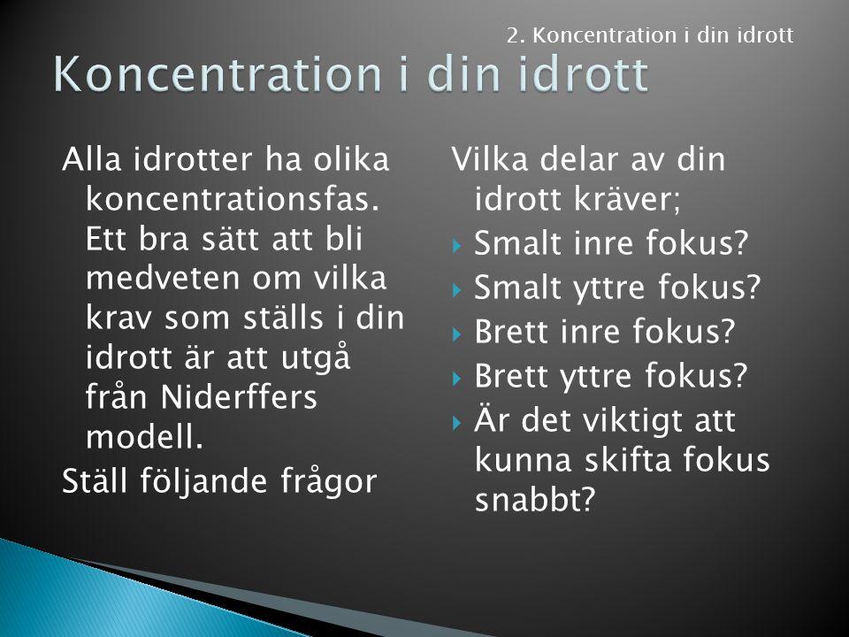 Alla idrotter ha olika koncentrationsfas. Ett bra sätt att bli medveten om vilka krav som ställs i din idrott är att utgå från Niderffers modell. Stäl