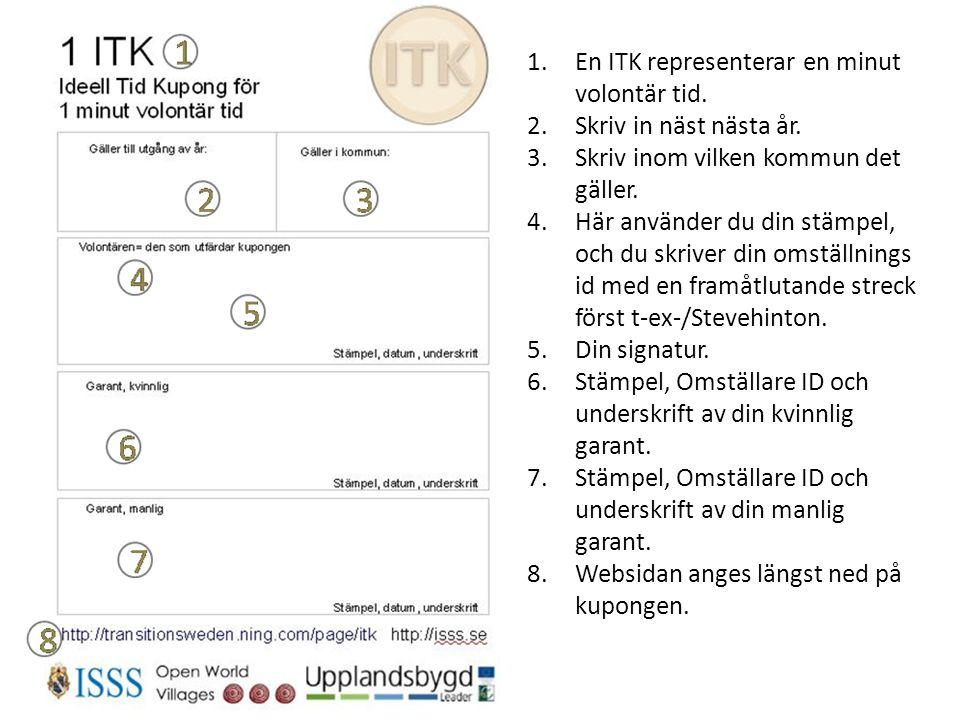 1.En ITK representerar en minut volontär tid. 2.Skriv in näst nästa år. 3.Skriv inom vilken kommun det gäller. 4.Här använder du din stämpel, och du s