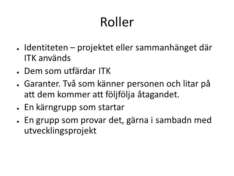 Roller ● Identiteten – projektet eller sammanhänget där ITK används ● Dem som utfärdar ITK ● Garanter.