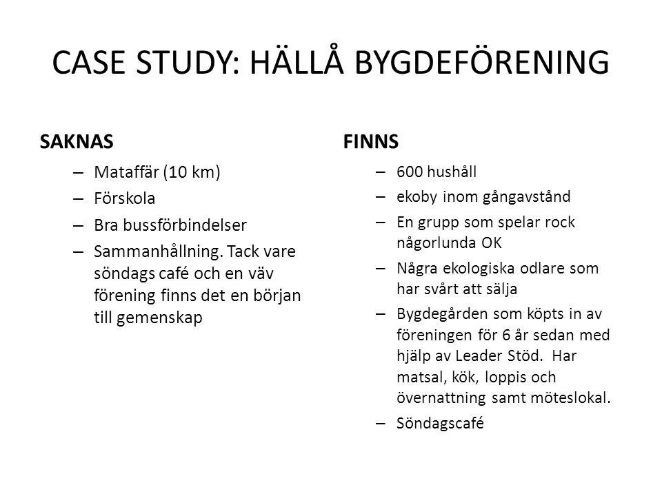 CASE STUDY: HÄLLÅ BYGDEFÖRENING SAKNAS – Mataffär (10 km) – Förskola – Bra bussförbindelser – Sammanhållning. Tack vare söndags café och en väv föreni