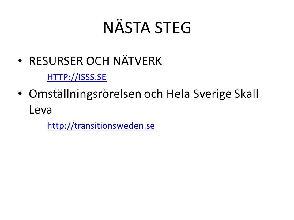 NÄSTA STEG • RESURSER OCH NÄTVERK HTTP://ISSS.SE • Omställningsrörelsen och Hela Sverige Skall Leva http://transitionsweden.se