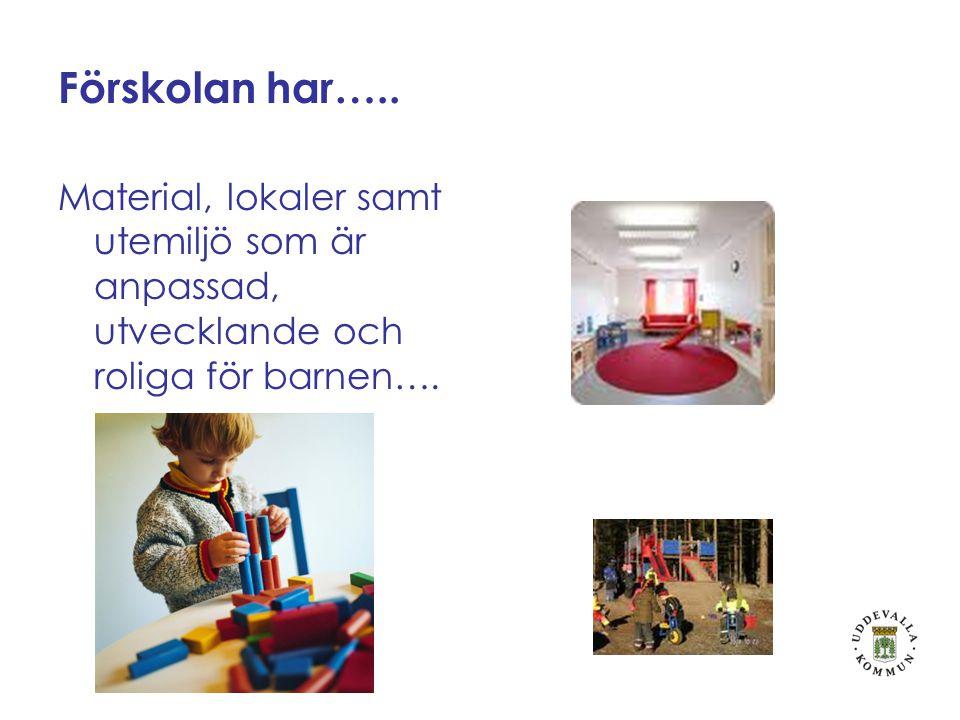 Förskolan har….. Material, lokaler samt utemiljö som är anpassad, utvecklande och roliga för barnen….