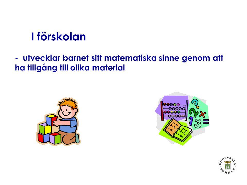 I förskolan - utvecklar barnet sitt matematiska sinne genom att ha tillgång till olika material