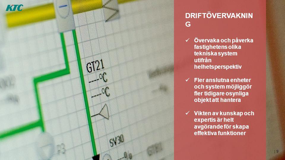 | 9 DRIFTÖVERVAKNIN G  Övervaka och påverka fastighetens olika tekniska system utifrån helhetsperspektiv  Fler anslutna enheter och system möjliggör