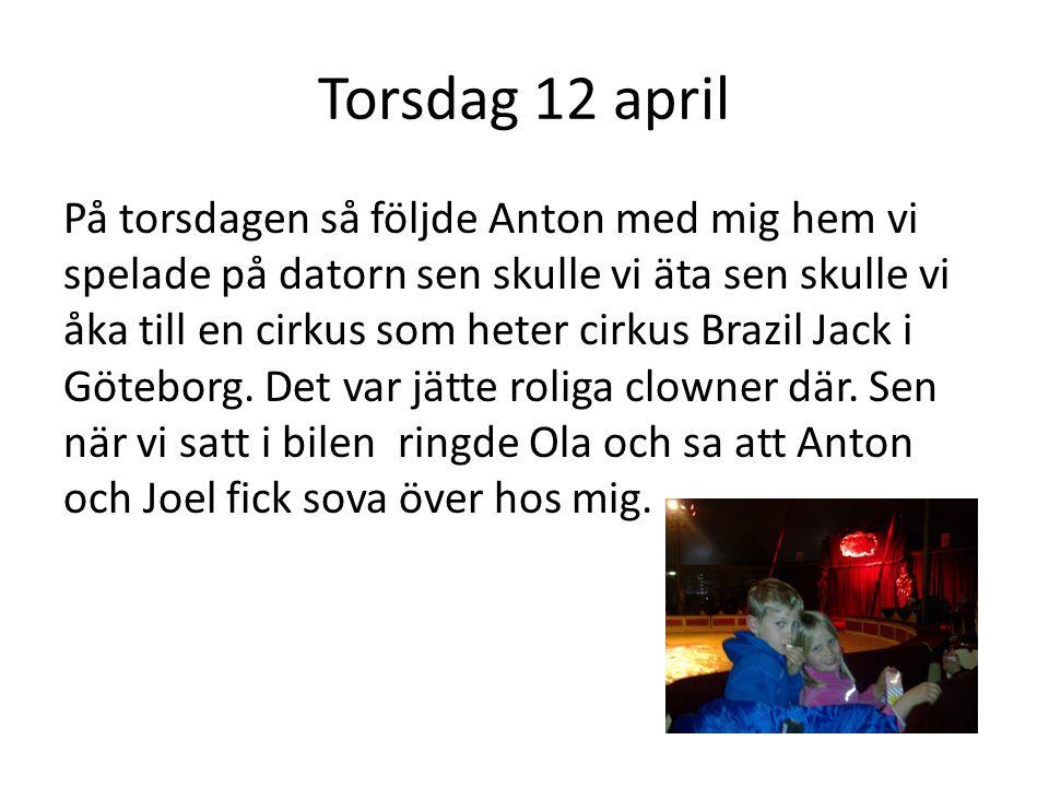 Torsdag 12 april På torsdagen så följde Anton med mig hem vi spelade på datorn sen skulle vi äta sen skulle vi åka till en cirkus som heter cirkus Brazil Jack i Göteborg.