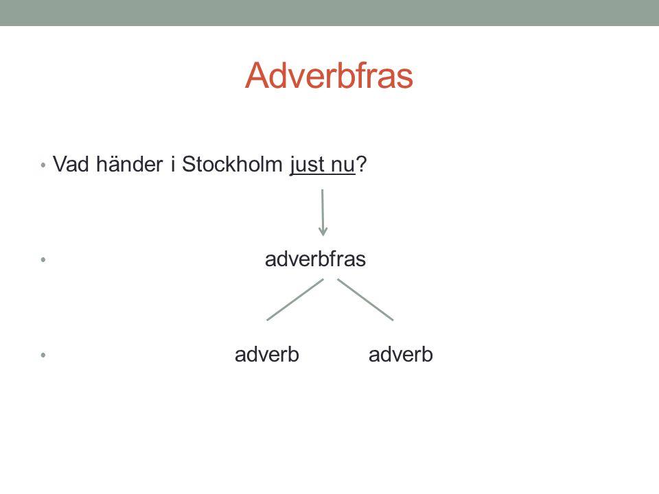 Adverbfras • Vad händer i Stockholm just nu? • adverbfras • adverb adverb