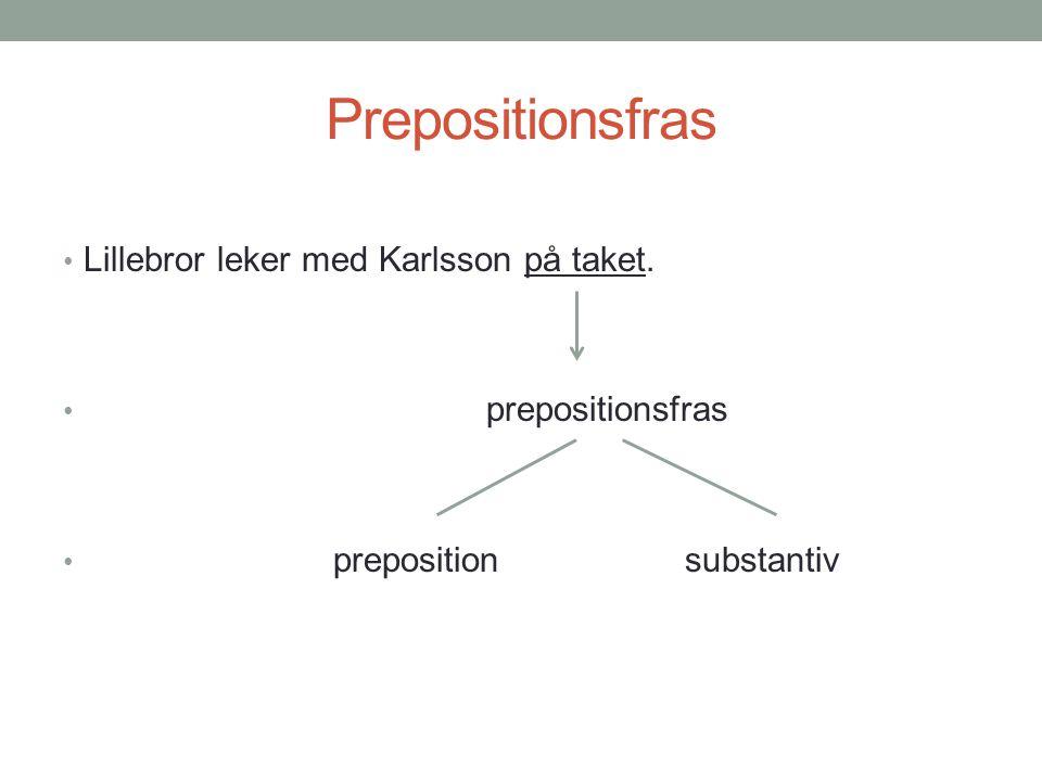 Prepositionsfras • Lillebror leker med Karlsson på taket. • prepositionsfras • preposition substantiv