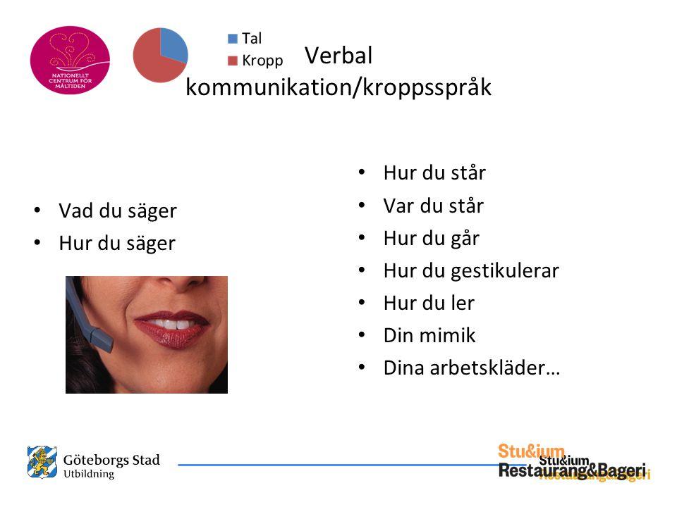 Verbal kommunikation/kroppsspråk • Vad du säger • Hur du säger • Hur du står • Var du står • Hur du går • Hur du gestikulerar • Hur du ler • Din mimik