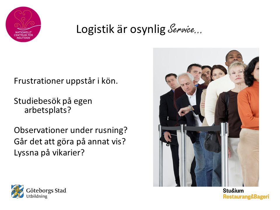 Logistik är osynlig Service… Frustrationer uppstår i kön. Studiebesök på egen arbetsplats? Observationer under rusning? Går det att göra på annat vis?