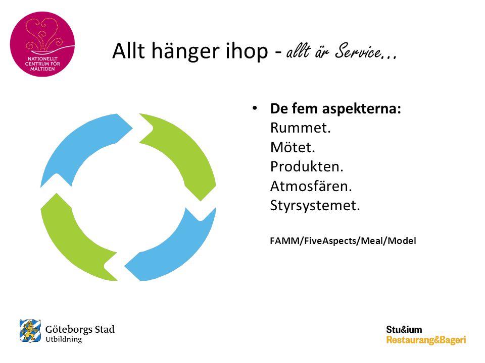 Allt hänger ihop - allt är Service … • De fem aspekterna: Rummet. Mötet. Produkten. Atmosfären. Styrsystemet. FAMM/FiveAspects/Meal/Model