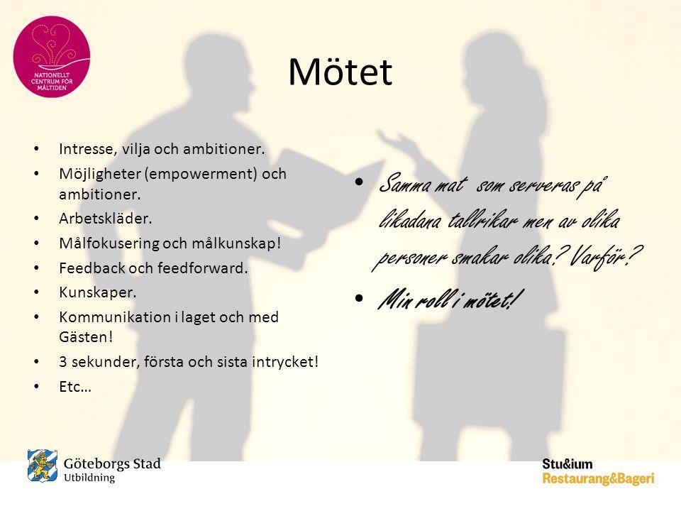 Mötet • Intresse, vilja och ambitioner. • Möjligheter (empowerment) och ambitioner. • Arbetskläder. • Målfokusering och målkunskap! • Feedback och fee