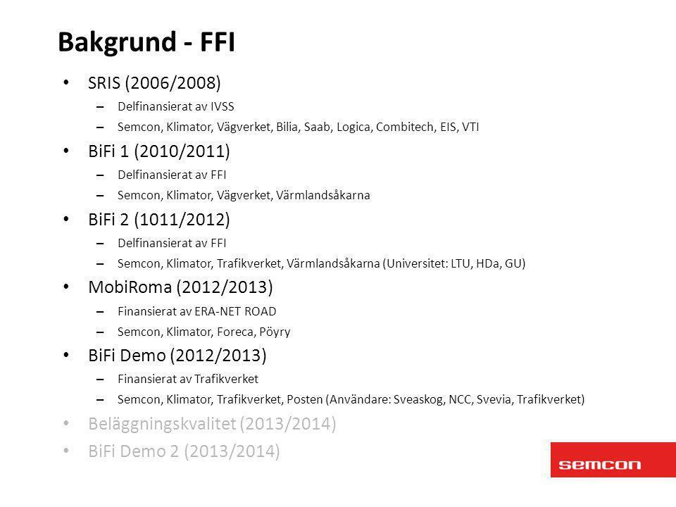• SRIS (2006/2008) – Delfinansierat av IVSS – Semcon, Klimator, Vägverket, Bilia, Saab, Logica, Combitech, EIS, VTI • BiFi 1 (2010/2011) – Delfinansie