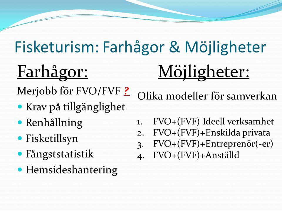 Fisketurism: Farhågor & Möjligheter Farhågor:Möjligheter: Merjobb för FVO/FVF ?  Krav på tillgänglighet  Renhållning  Fisketillsyn  Fångststatisti