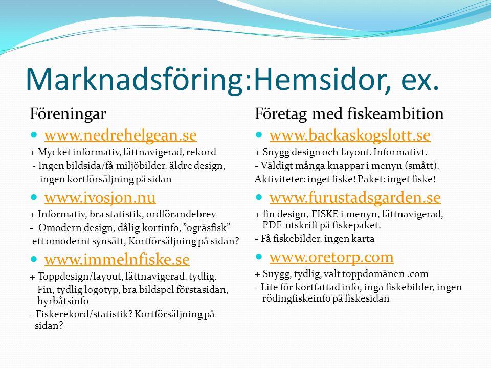 Marknadsföring:Hemsidor, ex. Föreningar  www.nedrehelgean.se www.nedrehelgean.se + Mycket informativ, lättnavigerad, rekord - Ingen bildsida/få miljö