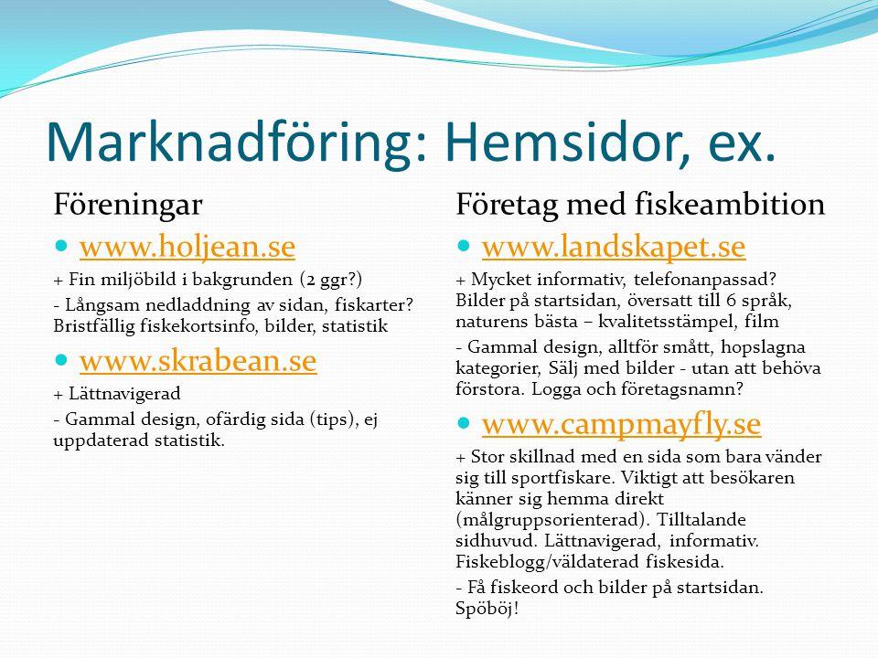Marknadföring: Hemsidor, ex. Föreningar  www.holjean.se www.holjean.se + Fin miljöbild i bakgrunden (2 ggr?) - Långsam nedladdning av sidan, fiskarte
