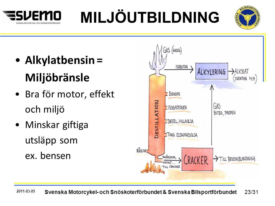 MILJÖUTBILDNING •Alkylatbensin = Miljöbränsle •Bra för motor, effekt och miljö •Minskar giftiga utsläpp som ex. bensen 2011-03-05 Svenska Motorcykel-