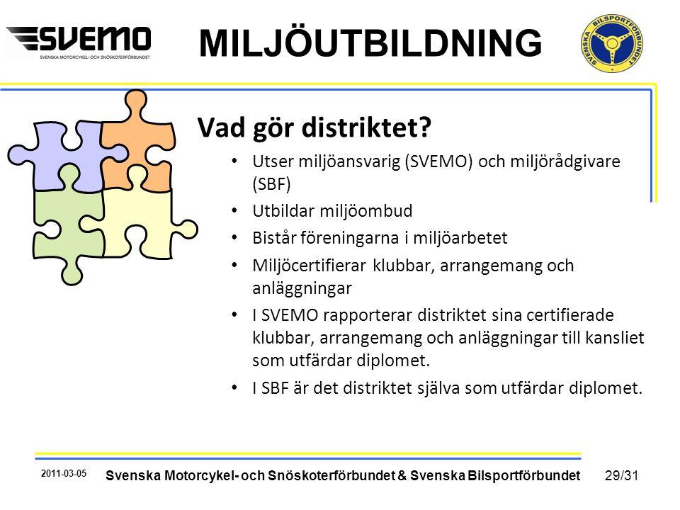 MILJÖUTBILDNING Vad gör distriktet? • Utser miljöansvarig (SVEMO) och miljörådgivare (SBF) • Utbildar miljöombud • Bistår föreningarna i miljöarbetet