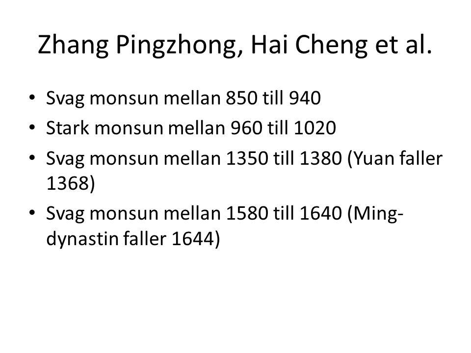 Zhang Pingzhong, Hai Cheng et al. • Svag monsun mellan 850 till 940 • Stark monsun mellan 960 till 1020 • Svag monsun mellan 1350 till 1380 (Yuan fall