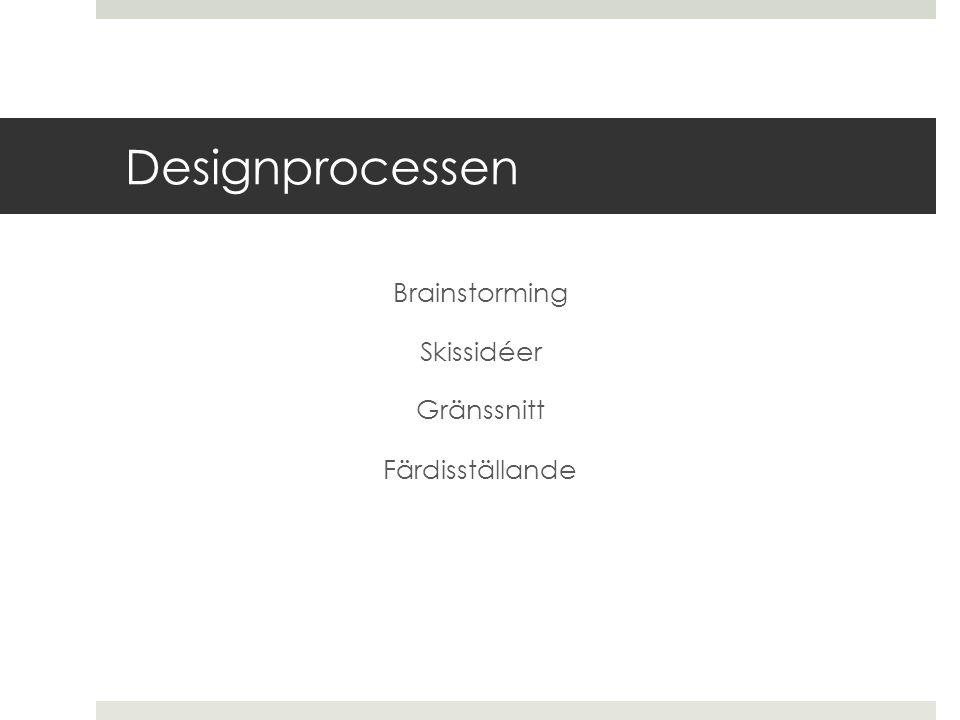 Designprocessen Brainstorming Skissidéer Gränssnitt Färdisställande