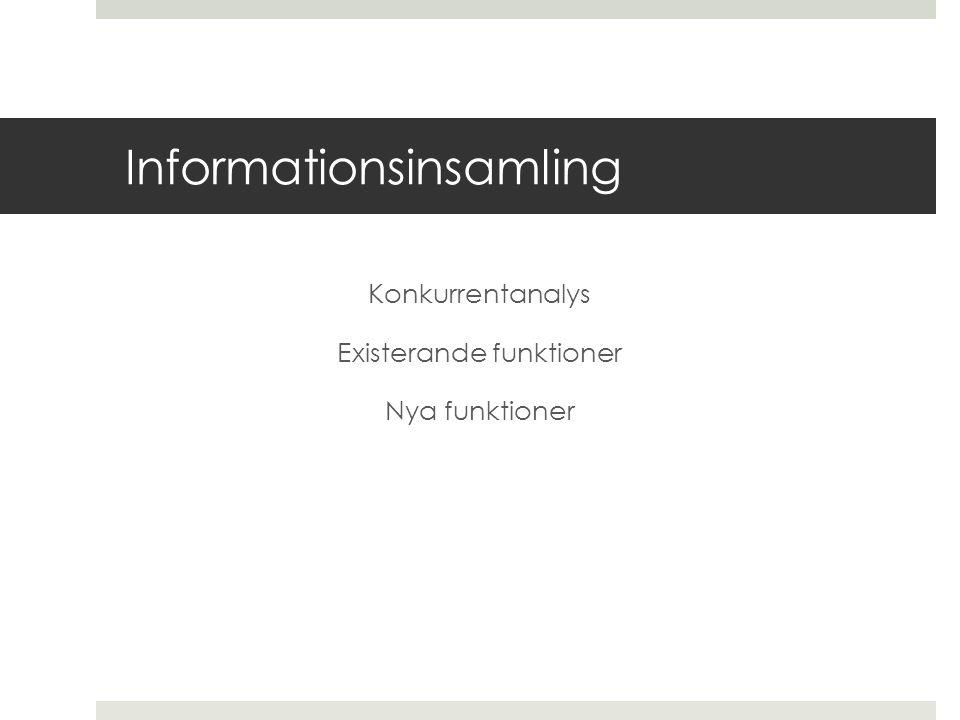 Informationsinsamling Konkurrentanalys Existerande funktioner Nya funktioner