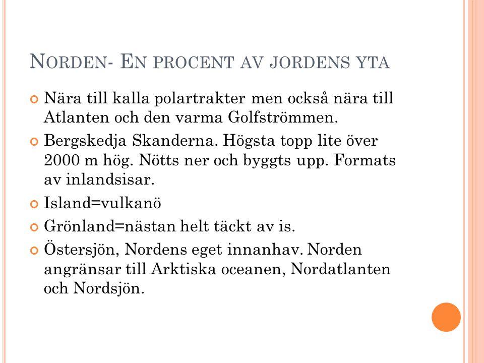 N ORDEN - E N PROCENT AV JORDENS YTA Nära till kalla polartrakter men också nära till Atlanten och den varma Golfströmmen. Bergskedja Skanderna. Högst