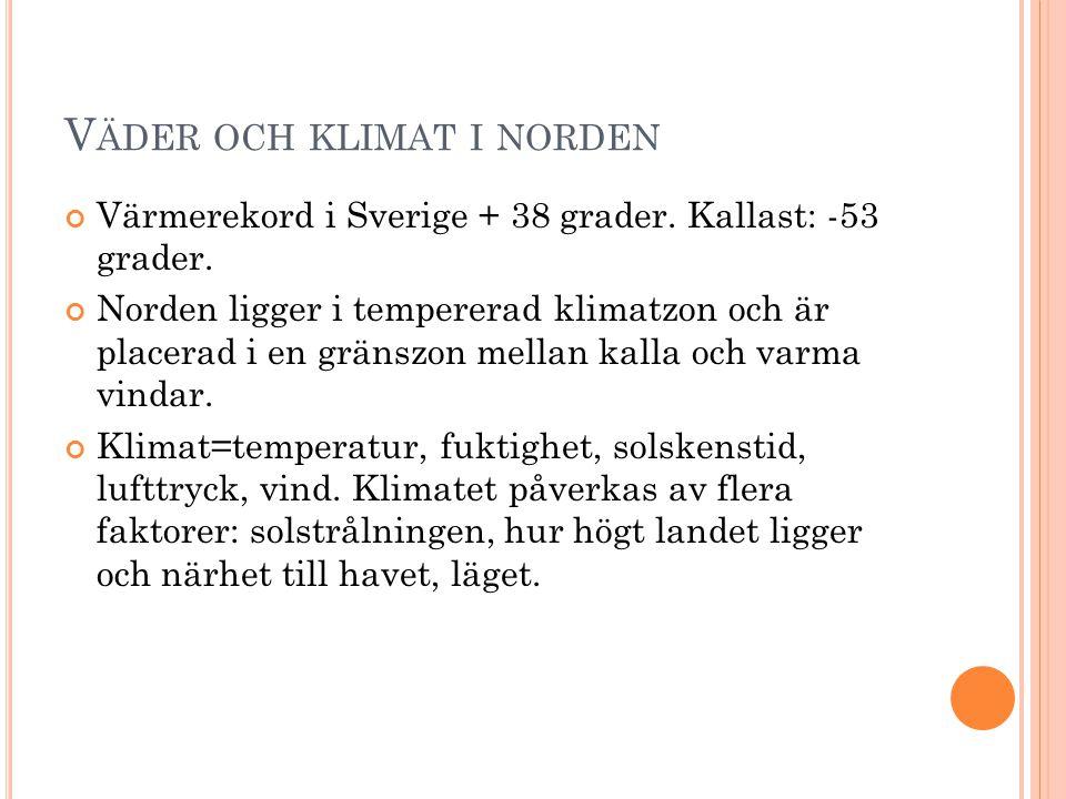 V ÄDER OCH KLIMAT I NORDEN Värmerekord i Sverige + 38 grader. Kallast: -53 grader. Norden ligger i tempererad klimatzon och är placerad i en gränszon