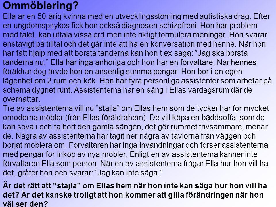 Ommöblering? Ella är en 50-årig kvinna med en utvecklingsstörning med autistiska drag. Efter en ungdomspsykos fick hon också diagnosen schizofreni. Ho