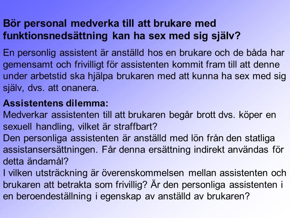 Bör personal medverka till att brukare med funktionsnedsättning kan ha sex med sig själv? En personlig assistent är anställd hos en brukare och de båd