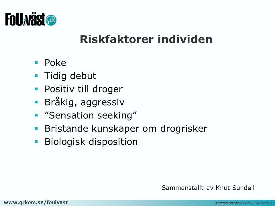 """www.grkom.se/fouivast ©GÖTEBORGSREGIONENS KOMMUNALFÖRBUND Riskfaktorer individen  Poke  Tidig debut  Positiv till droger  Bråkig, aggressiv  """"Sen"""