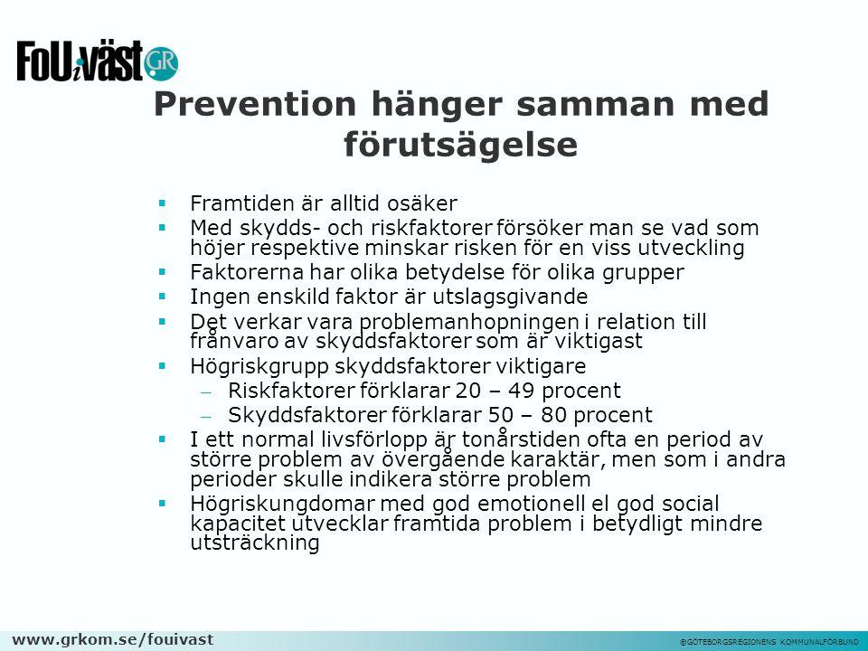 www.grkom.se/fouivast ©GÖTEBORGSREGIONENS KOMMUNALFÖRBUND Prevention hänger samman med förutsägelse  Framtiden är alltid osäker  Med skydds- och ris