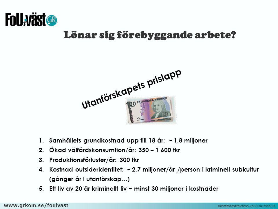 www.grkom.se/fouivast ©GÖTEBORGSREGIONENS KOMMUNALFÖRBUND Lönar sig förebyggande arbete? 1.Samhällets grundkostnad upp till 18 år: ~ 1,8 miljoner 2.Ök