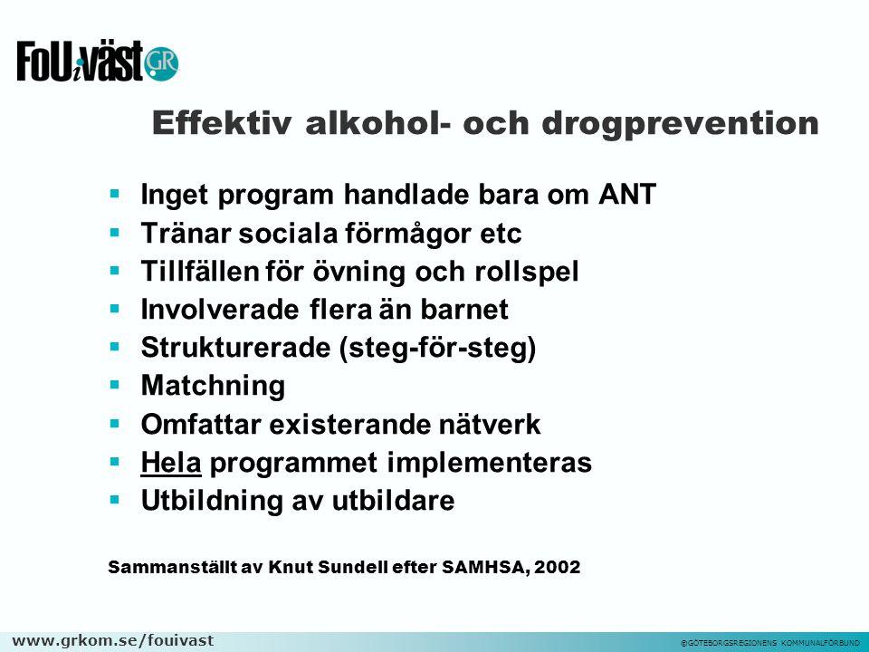 www.grkom.se/fouivast ©GÖTEBORGSREGIONENS KOMMUNALFÖRBUND Effektiv alkohol- och drogprevention  Inget program handlade bara om ANT  Tränar sociala f