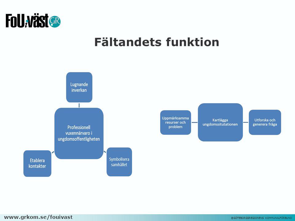www.grkom.se/fouivast ©GÖTEBORGSREGIONENS KOMMUNALFÖRBUND Fältandets funktion