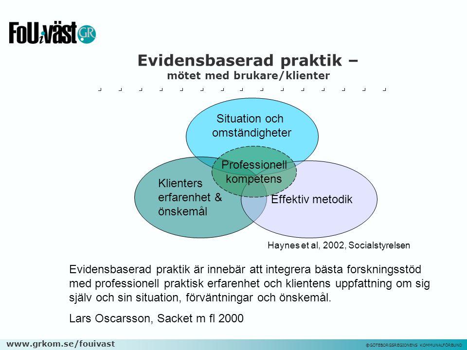 www.grkom.se/fouivast ©GÖTEBORGSREGIONENS KOMMUNALFÖRBUND Evidensbaserad praktik – mötet med brukare/klienter Evidensbaserad praktik är innebär att in